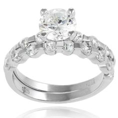 Alexandria Collection Sterling Silver Cubic Zirconia Bridal and Engagement Ring Alexandria Collection. $41.99. Cubic zirconia gemstones. Sterling silver. Metal weight: 4.3 grams. Band-thinnest dimensions: 2 mm wide