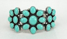 Authentic Native American Sterling Silver turquoise cluster bracelet by Navajo Dean Brown