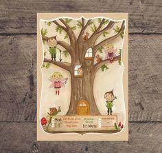 Woodland Tree Fairies and Elves Custom Birthday Printable Party Invitation on Etsy, $15.19 AUD