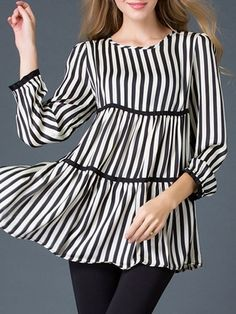 Striped Courtlike Round Neck Blouses #ClothingOnline #PlusSizeWomensClothing #CheapClothing #FashionClothing #womenswear #sexydress #womensdress #womenfashioncasual #womensfashionforwork  #fashion #womensfashionwinter