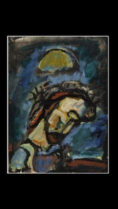 """Georges Rouault - """"Jésus honni"""", 1939 - Encre, gouaches, héliogravure sur toile - 55,3 x 40,8 cm - Centre Pompidou, Paris"""