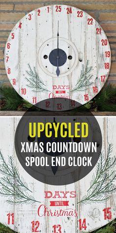 DIY Upcycled Countdown to Christmas Spool Clock - Paper Riot Christmas Booth, Christmas Clock, What Is Christmas, Christmas Signs, Christmas Projects, Christmas Time, Christmas Decorations, Christmas Ideas, Santa Countdown