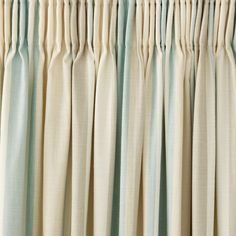 Awning Stripe Duck Egg Cotton Pencil Pleat Ready Made Curtains