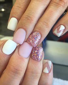 Emmadoesnails - short, gel, matte, pink, glitter, negative space, Valentines Day, girly