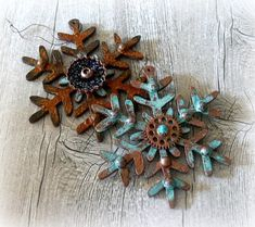 Steampunk Christmas snowflakes wooden by CarmenHandCrafts on Etsy