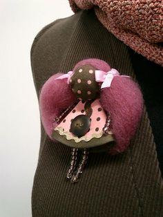 maramanufaktura / brošňa mini MARA dvojička2/ružovo-hnedá/