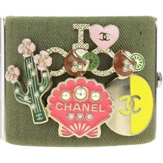 Pre-Owned Chanel 17c Cuba Cruise Khaki Green Canvas Pin Charm Cuff... (4,275 ILS) ❤ liked on Polyvore featuring jewelry, bracelets, khaki green, cuff bracelet, chanel charms, chanel, pre owned jewelry and cuff charm bracelet