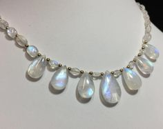 Rainbow Moonstone Necklace - AAAA - 14k Gold Fill - 88ct - beaded