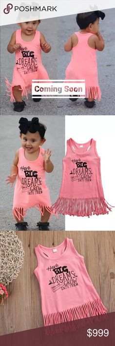 """🆕""""Big Dreams"""" Fringe Dress Brand New! Absolutely adorable """"Have big dreams, you will grow into them"""" fringe dress. Includes dress only. Material is Cotton.  Size available: 12-24M(90), 2T(100)                       ✨Bundle & Save✨                                 No•Trades•No•PayPal              💟Boutique items may or may not have tags but shipped New from supplier.      💟Please ask any questions you may have before purchase Dresses"""
