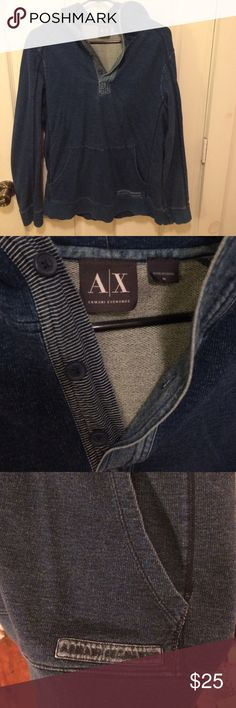 Armani Exchange Sweatshirt with hood This AX pullover is so comfortable and still so fashionable! I've worn it very few times (it is a Men's so it fit me a bit looser than I wished) so it is in great condition! A/X Armani Exchange Shirts Sweatshirts & Hoodies