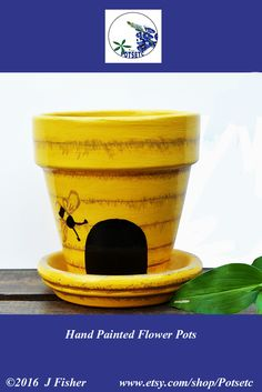 Painted Flower Pot - Bee Hive, Yellow, Terra Cotta Planter, Hand Painted, Clay Pot, Home or Garden Art, Small 4 In, Spring, PPBH0416 $14.25  #paintedflowerpots #handpaintedflowerpots #gardenpots #gardencontainers #beehive #flowerpots