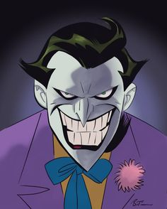 Joker By Bruce Timm Joker Cartoon, Joker Dc Comics, Joker Animated, Batman The Animated Series, Joker Drawings, Batman Drawing, Joker Film, Joker Art, Batman Painting