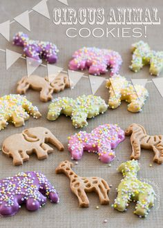 Spring Circus Animal Cookies using Wilton Candy Melts and Nonpareils!