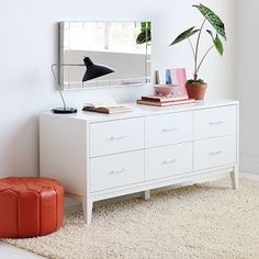 "Narrow-Leg 6-Drawer Dresser - White #westelm. $525  white glove del. 60"" x 20""will fit in K's room. Little more storage than others"