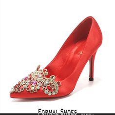 ecee69614bd Red Jeweled Satin Formal Wedding Shoes High Heels Wedding List