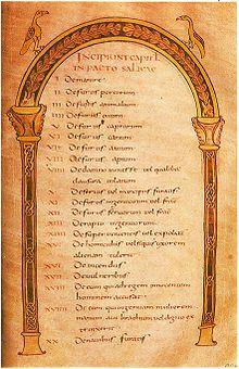 """Clovis Ier  Copie manuscrite sur vélin du 8°s de la loi salique. Paris, BnF. Selon certains historiens, la I° loi salique était un code pénal et civil propre aux Francs dits """"saliens"""" (4°s), d'abord mémorisée et transmise oralement, elle fut mise par écrit dans les I° années du 6°s à la demande de Clovis, puis remaniée plusieurs fois par la suite, jusqu'à Charlemagne."""