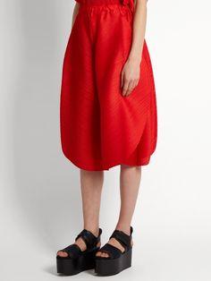 Pleats Please Issey Miyake Triangle-cut wide-leg trousers
