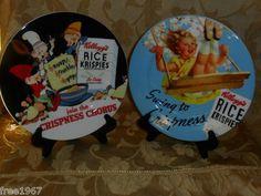 $17.99 obo! Set of 2 Reproduction 2005 Collectible KELLOGG'S Rice Krispies Treats Plates