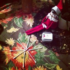#elftakeover : making snowflakes #holiday2013daily Elf on the Shelf