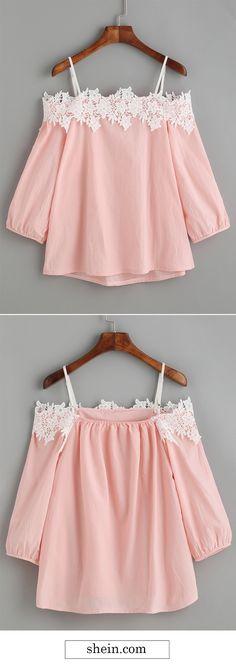 Pink embroidery lace applique cold shoulder blouse.