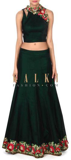 Buy this Dark green lehenga in resham and kundan embroidery only on Kalki