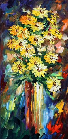 Yellow Flowers Painting by Leonid Afremov