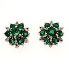 Vintage Gem Green 76ct Emerald 14k White Gold Diamond Earrings | eBay