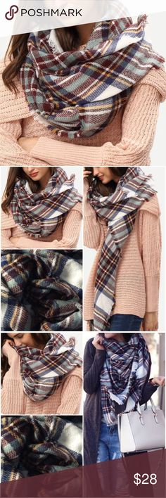 "Plaid Multi-Color Blanket Scarf. Price firm Soft and so versatile! Plaid multi-color frayed scarf. Size-53.9"" (W) x 56.7"" (L) Material-Polyester. (#8160) Boutique Accessories Scarves & Wraps"