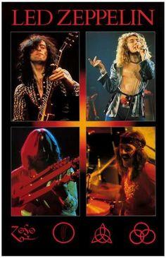 Led Zeppelin 4 Live Pics Page Plant Jones Bonham Music Poster 11x17