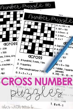 My students have so much fun with these math review Cross Number Puzzles! The puzzles are perfect for 4th grade and 5th grade test prep while covering the Common Core Standards. Just print out the worksheets and incorporate into guided math or morning work. The puzzles have excellent place value, mental math and structuring numbers review problems!
