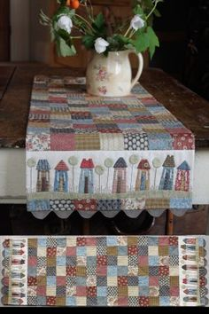 Tiny Town Table Runner - Hatched and Patched