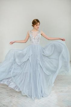 How about a blue wedding dress this time? blue wedding dress so dreamy in this dusty blue wedding gown -- carouselfashion ebsxlom Blue Wedding Gowns, Bridal Dresses, Bridesmaid Dresses, Prom Dresses, Formal Dresses, Light Blue Wedding Dress, Dress Wedding, Tulle Wedding, Colored Wedding Dress