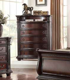 This rich classic chest is a perfect way to add a storage solution and traditional style to a bedroom. The chest has plenty of storage space with five drawers and an open shelf. You can pair it with the bed from this collection for a stunning bedroom set. Sleigh Bedroom Set, Bedroom Sets, Girls Bedroom, Base Moulding, 3 Drawer Nightstand, Master Room, Buy Bed, Bed Furniture, Open Shelving