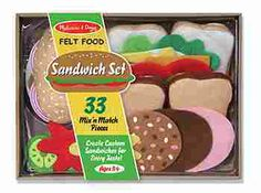 Felt Food Sandwich Set, Your child will enjoy being a chef, a server or a customer with this 33-piece felt food activity. All the ingredients are included, even the condiments!  (http://store.oblockbooks.com/felt-food-sandwich-set/)