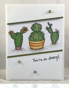 "I love the Cacti Clear Stamps. Such a fun southwestern feel! They're simply adorable! I also love the edge of the ""Dashing"" series dies. Bridal Shower Scrapbook, Elizabeth Craft Designs, Lawn Fawn, Copic Markers, Clear Stamps, Design Crafts, Cactus, Card Stock, Birthday Cards"