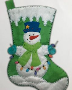 Online shopping from a great selection at Handmade Products Store. Baby Christmas Stocking, Felt Christmas Stockings, Felt Stocking, Christmas Sewing, Christmas Fun, Christmas Wreaths, Christmas Ornaments, Snowman Crafts, Felt Crafts