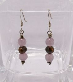 Shiny Purple Cat's Eye Beads, Handmade Earrings, Casual Style, Brown Freshwater Pearls, Sterling Silver Ear Wires, 1 1/2 Inch Drop by ElysiumUniqueJewelry on Etsy