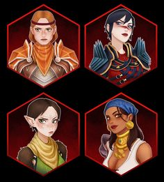 Aveline, Hawke, Merrill, and Isabela