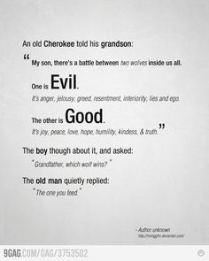 A deacon at my church once told me his French grandmother told a similar story. Feed the good wolf.