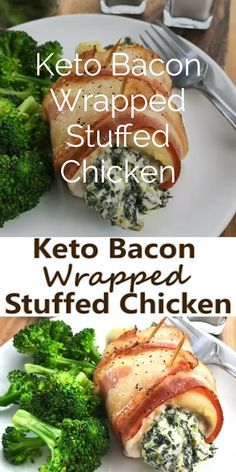 This Keto Bacon Wrapped Stuffed Chicken is the perfect low carb dinner idea for . - This Keto Bacon Wrapped Stuffed Chicken is the perfect low carb dinner idea for the whole family. Gluten Free Recipes For Dinner, Healthy Dinner Recipes, Low Carb Recipes, Diet Recipes, Crockpot Recipes, Healthy Lunches, Easy Recipes, Eating Healthy, Lunch Recipes