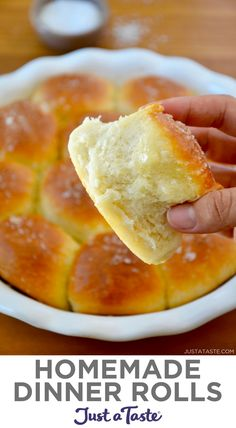 Soft and buttery Easy Homemade Dinner Rolls are the perfect addition to your Thanksgiving menu! This is a fool-proof recipe perfect for anyone with a fear of yeast. justataste.com #recipes #thanksgivingrecipes #thanksgiving #sidedish #dinnerrolls #bread #breadrecipes #justatasterecipes Recipes With Yeast, Easy Bread Recipes, Chef Recipes, Baking Recipes, Real Food Recipes, Dessert Recipes, Yummy Food, Muffin Recipes, Delicious Recipes