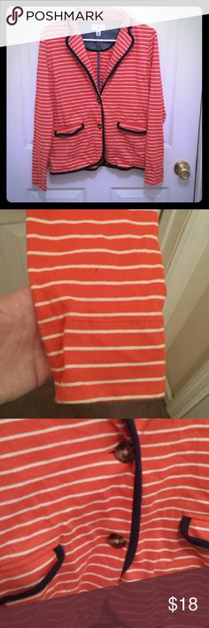 Price Drop! Orange and White Blazer Orange and white stripe blazer with navy trim. Size XS. 100% Cotton. L.L. Bean. It's in good, used condition. There is some wash wear and a tiny hole I found in the sleeve (second picture). Over all it is very wearable and could be dressed up or down. Perfect for fall. L.L. Bean Jackets & Coats Blazers