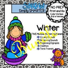 Are you looking for NO PREP literacy and math games? Then download this bundle and go!  Enjoy this phonics and math resource which is comprised of FIVE different WINTER themed games complete with a color version and black and white version of each game.