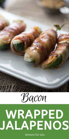 Mildly spicy jalapenos are stuffed with two kinds of cheese and wrapped in sweet smokey bacon to make these stuffed jalapeños! Best Appetizers, Appetizer Recipes, Dinner Recipes, Easy Meals For Kids, Kids Meals, Great Recipes, Healthy Recipes, Recipe Ideas, Bacon Wrapped Stuffed Jalapenos