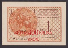 YUGOSLAVIA   400 Kronen on 1 Dinar ND 1919   UNC-   PNL   Mega Rare !!!