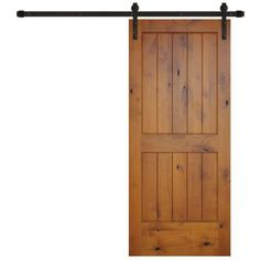 Pacific Entries 36 in. x 84 in. Rustic 2-Panel V-Groove Prefinished Knotty Alder Wood Interior Barn Door with Bronze Hardware