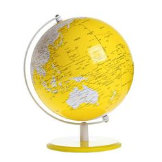 Color coordinated globe for a globetrotting grey & yellow nursery