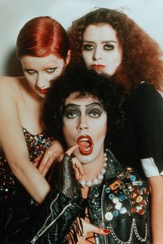 """""""The Rocky Horror Picture Show"""" promo still, L to R: Nell Campbell, Tim Curry, Patricia Quinn. Still in limited release four decades after its premiere, """"The Rocky Horror Picture Show"""" is the longest-running theatrical release in film history. Rocky Horror Show, The Rocky Horror Picture Show, Tim Curry Rocky Horror, Columbia Rocky Horror, Chicas Punk Rock, Photo Rock, Francis Wolff, Tv Movie, The Frankenstein"""