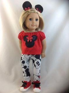 American Girl Doll  Mickey Mouse Leggings Minnie by DollFashions