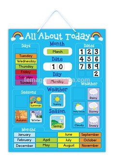 Risultati immagini per calendario educativo Preschool Calendar, Classroom Calendar, Classroom Board, Kids Calendar, Toddler Calendar, Kindergarten Calendar Board, Today Calendar, Preschool Weather Chart, Preschool Charts